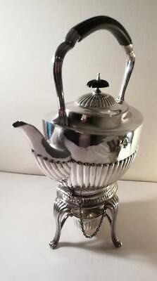 A Large Antique Silver Spirit Kettle, Burner & Stand : Sheffield 1899