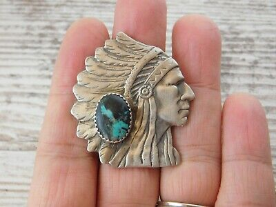 Southwestern Native American Indian Chief Head Sterling Silver Turquoise Ring