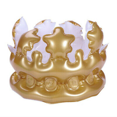 Inflatable Adult Gold Crown - Costume Accessory Fancy Dress Up King Toy Party