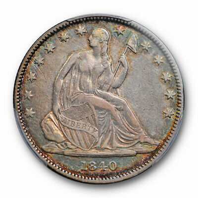 1840 (O) 50C Reverse of 1838 Seated Liberty Half Dollar PCGS VF 35 Colorful T...