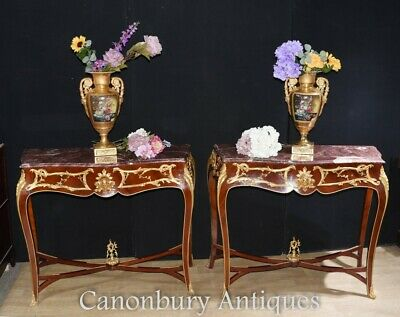 Pair French Console Tables - Louis XVI Ormolu Marble Hall Table