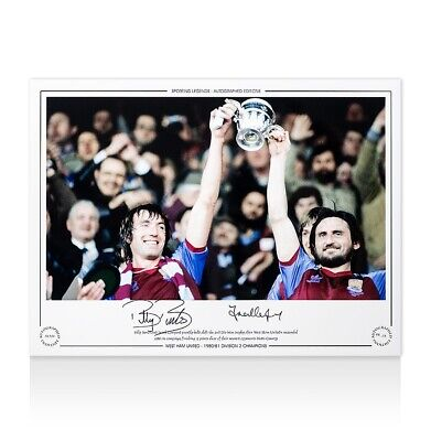 Billy Bonds & Frank Lampard Snr Signed Photo - 1980-81 Division 2 Champions