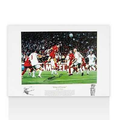 Steven Gerrard Signed Liverpool Artwork Picture - Kings Of Europe Autograph
