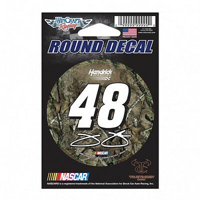 "Jimmie Johnson #48 Camo Nascar Number 3"" Round Decal"