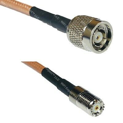 1 foot RG142 QMA MALE ANGLE to MINI UHF FEMALE Pigtail Jumper RF coaxial cable 50ohm Quick USA Shipping