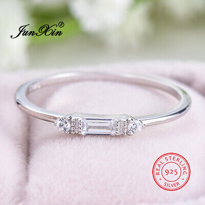 Solid 925 Sterling Silver White Sapphire Thin Wedding Ring Women's Band Jewelry