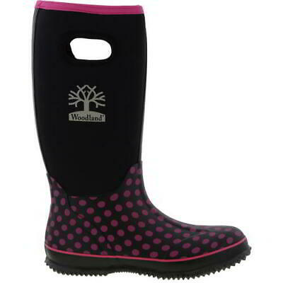 Woodland Womens Ladies Black Polka Dot Wellies Neoprene Wellington Boots 4-8