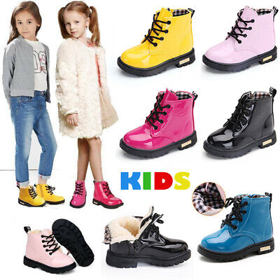 Kids Ankle Boots Boys Girls Martin Shoes Winter Warm Chelsea Fur Lined Bovver UK