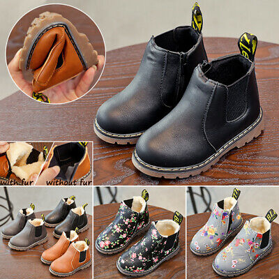 Kids Ankle Boots Boys Girls Winter Warm Boots Fur Lined Martin Chelsea Shoes UK