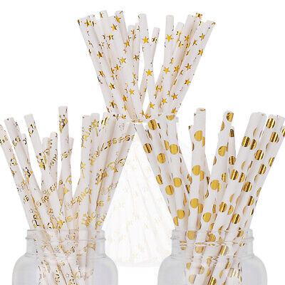 25-200x Gold Star Dotted Crown Paper Straws For Birthday Wedding Hen Party Decor