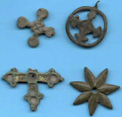 Lot OF 4 Ancient Viking Enamel Bronze Cross Kiev Russia ca 1100 Byzantine 54