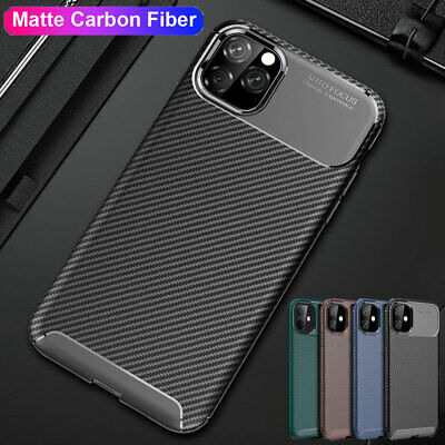 Ultra Slim Case for iPhone 11 Pro Max XS XR X 8 Hybrid Carbon Fiber Rubber Cover