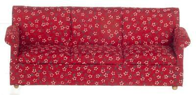 Dolls House Modern Red 3 Seater Sofa Miniature 1:12 Scale Living Room Furniture