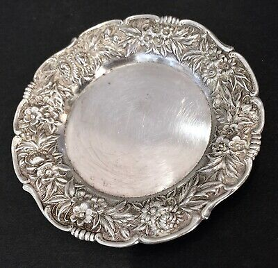 Antique Sterling Silver S. Kirk & Sons Butter Dish Repousse Plate 17F No Mono