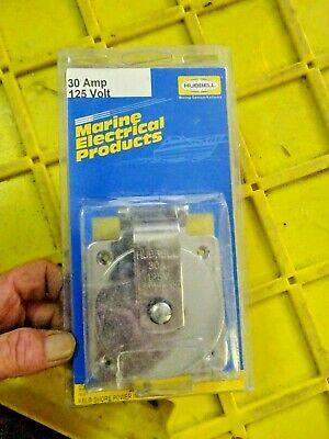 NEW HUBBELL WIRING GROUND SS Flanged Locking Inlet,Marine,30A 125V, HBL303SS