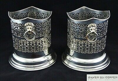 Pair Victorian Silver Plate On Copper Pierced Champagne Wine Bottle Holders