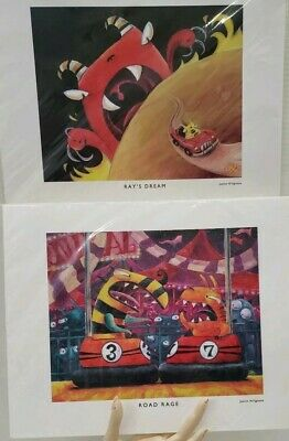 Set of 2 Justin Hillgrove Art Prints Ray's Dream and Road Rage