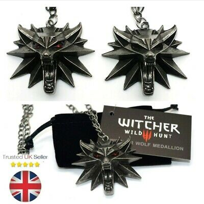 The Witcher 3 Wolf Medallion Pendant Keel Chain Necklace Cosplay Costume PS 4
