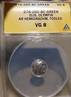 Ellis, Olympia.276-360 BC . Silver Hemidrachm - ANACS VG 8. Ancient Greek