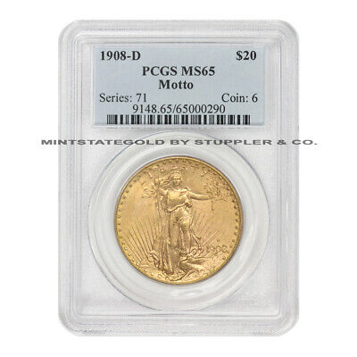 1908-D $20 Saint Gaudens PCGS MS65 Motto gem graded Gold Double Eagle Denver