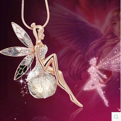 Fashion Women Crystal Fairy Angel Wing Pendant Long Chain Necklace Gift