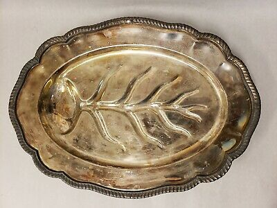 Vintage FB Rogers Silver Co 1883 Silver Plated Footed Oval Tray Leaf Design