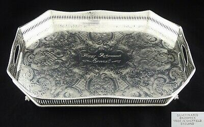 Vintage Chased Rectangle Pierced Serving Tray Cocktail Silver Plate On Copper