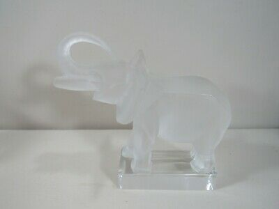 Signed Lalique France Frosted Clear Elephant with Trunk up Paperweight