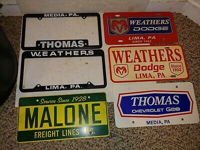 6 Vintage 80s/90s Media,PA License Plate,Frame,Weathers Dodge Lima,Thomas Chevy