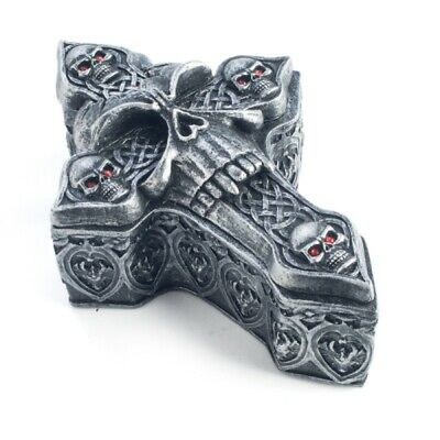 Gothic Skulls Cross Trinket Box Skull Medieval Bones jewellery Silver New