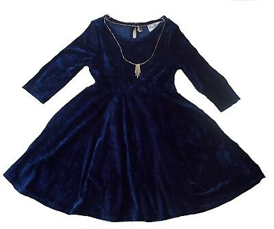 NWT Rare Editions Girls Navy Blue Crushed Velvet Holiday Dress size 5 5T 6 6X