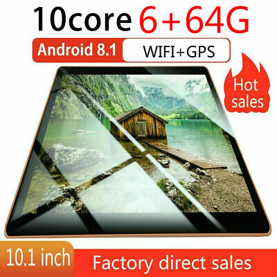 """10.1"""" Android 8.1 Tablets PC 6+64GB SIM Cameras WIFI Bluetooth HD Touch Screen e"""