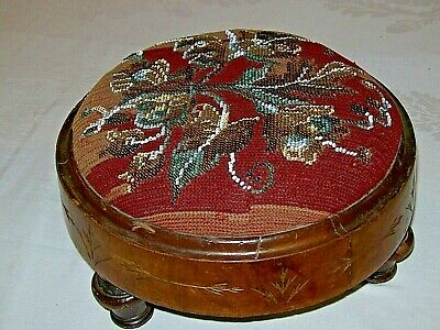 Antique-Victorian Beaded Tapestry Circular Footstool-Lovely Genuine Antique