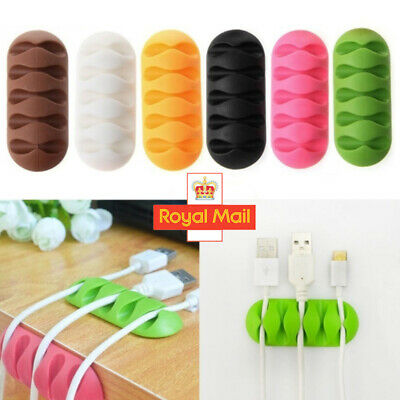 Cable Clip Desk Tidy Winder Organizer Phone Wire USB Charger Holder Lead Fixings