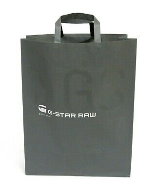 """100 LARGE 16"""" x 12"""" STRONG PAPER SHOPPING BAGS HANDLES GREY G-STAR PRINTED"""