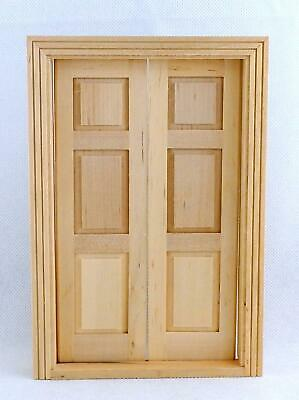 Dolls House Double Panel Doors Miniature Interior Wooden Traditional Accessory