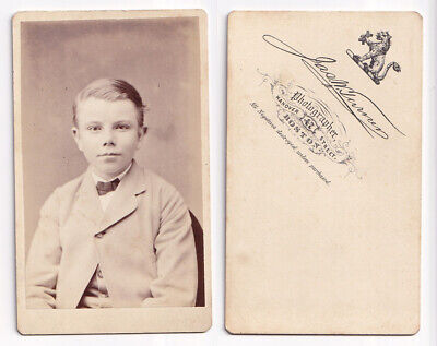 Victorian cdv Boy Suit Bow Tie - J Turner of Boston - 'all negatives destroyed'