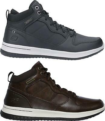 Skechers DELSON Mens Hi-Top Casual Leather Lace Up Memory Foam Comfy Trainers