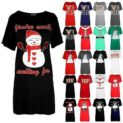 Ladies Womens Xmas Baggy Reindeer Pudding Oversized Christmas Mini T Shirt Dress