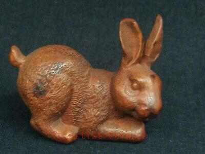 Collecting Old China Boxwood Wood Carving Rabbit Paperweight pen rack Decoration