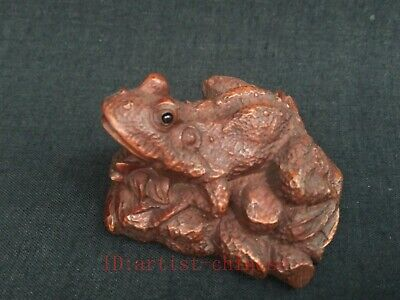 Collecting Old China Boxwood Wood Carving Frog Paperweight pen rack Decoration