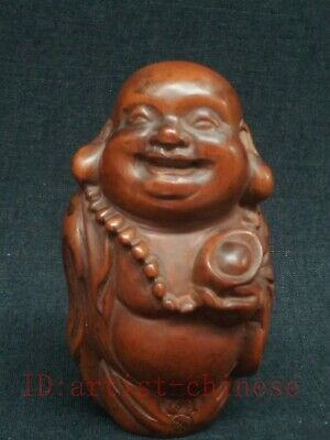 Collecting Old China Boxwood Wood Carving Maitreya Buddha Statue Decoration Gift