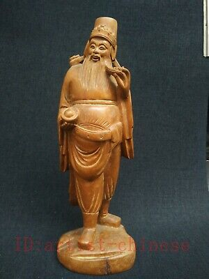 Collected Ancient Chinese Boxwood Manual Sculpture God Wealth Buddha Decoration