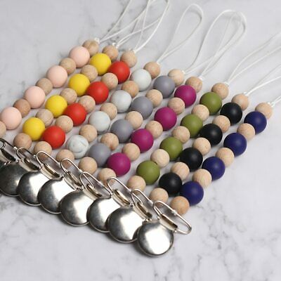 Safe Wood Silicone Beads Baby Teething Dummy Pacifier Chain Clips Soother Holder