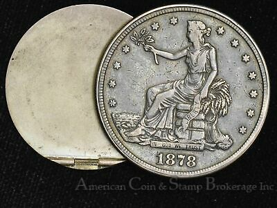 $1 One Dollar 1878 Trade Dollar Opium / Box Broken Hinge Still Nice