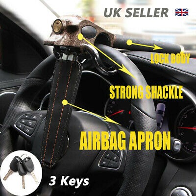 Universal Heavy Duty Car Steering Wheel Lock Anti Theft Clamp Safety Lock+3 Keys