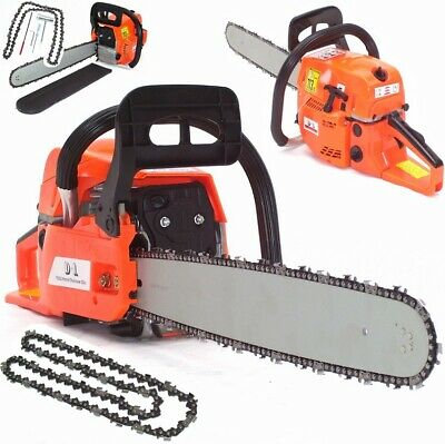 "Heavy Duty Petrol Chainsaw Saw 55869 Cutter 20"" 52cc 2.2kw + 2 Chains + Cover"