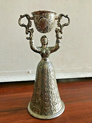 Vintage German Wedding Cup Silver Plated & Gold Washed Inside CUP CHALICE 8.5""