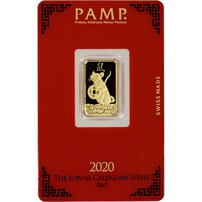 5 gram Gold Bar - PAMP Suisse - Lunar Year of the Rat - 999.9 Fine in Assay