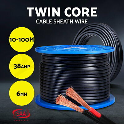 6MM Electrical Cable Electric Twin Core Extension Wire Caravan 450V 2 Sheath